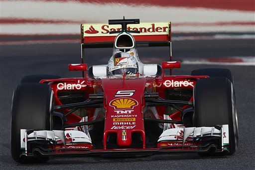 Sebastian Vettel of Germany drives the new Ferrari F1 car during a testing session at the the Catalunya racetrack in Montmelo just outside of Barcelona, Spain, Monday, Feb. 22, 2016. (AP Photo/Siu Wu)