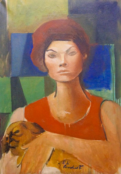"""Mulher com Cachorro"", Emiliano Di Cavalcanti (1955) óleo sobre tela"