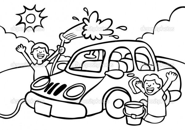 Cartoon image of two kids washing a car - black / white version.