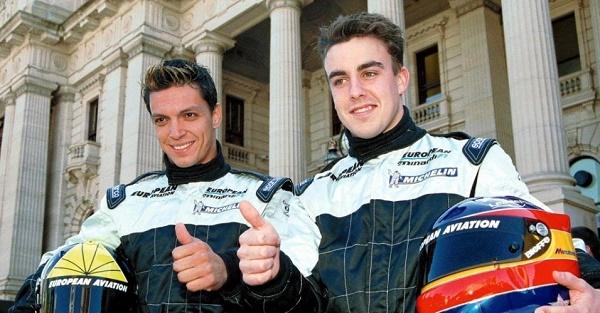 Tarso e Fernando Alonso nos tempos de Fórmula 1