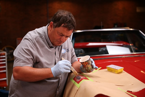 Mike working on the Corvette.