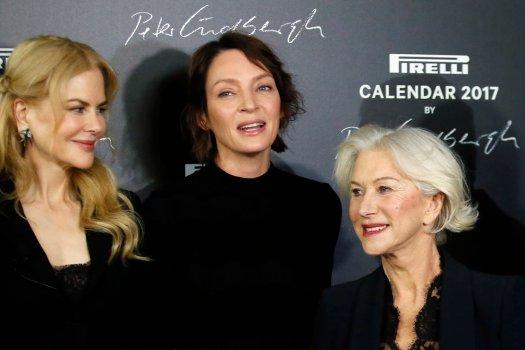 Actresses Nicole Kidman, Uma Thurman and Helen Mirren, from left to right, pose during a photocall to unveil the Pirelli 2017 calendar in Paris, Tuesday, Nov. 29, 2016. (AP Photo/Francois Mori)