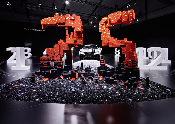 """More freedom thanks to more time: the central customer benefit offered by autonomous driving is being showcased by Audi at Design Miami/.  Audi worked together with the LEGO Group to develop """"The extra hour"""" installation."""