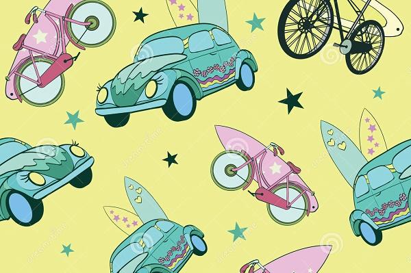 prancha-do-verde-amarelo-do-vetor-em-bicicletas-dos-carros-64895093